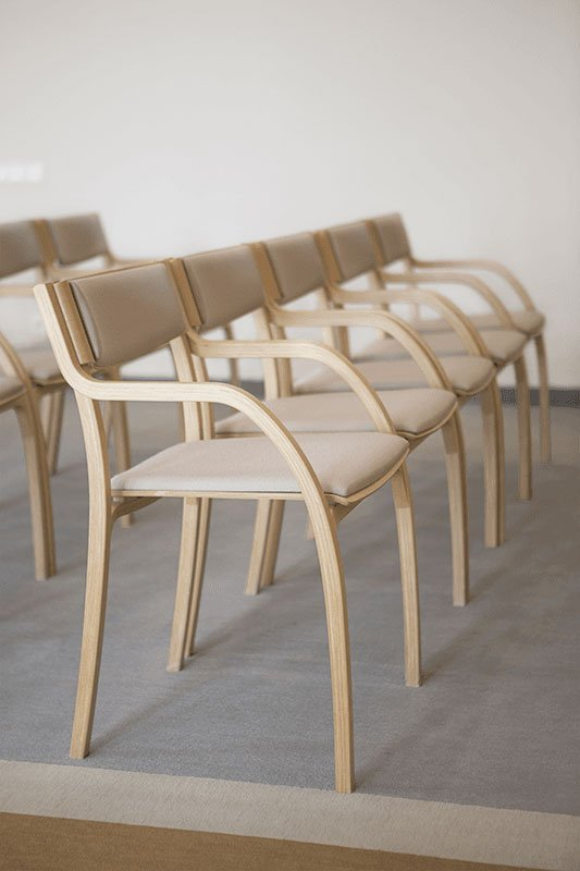 Scandinavian design chair from the oak with pads, bleached