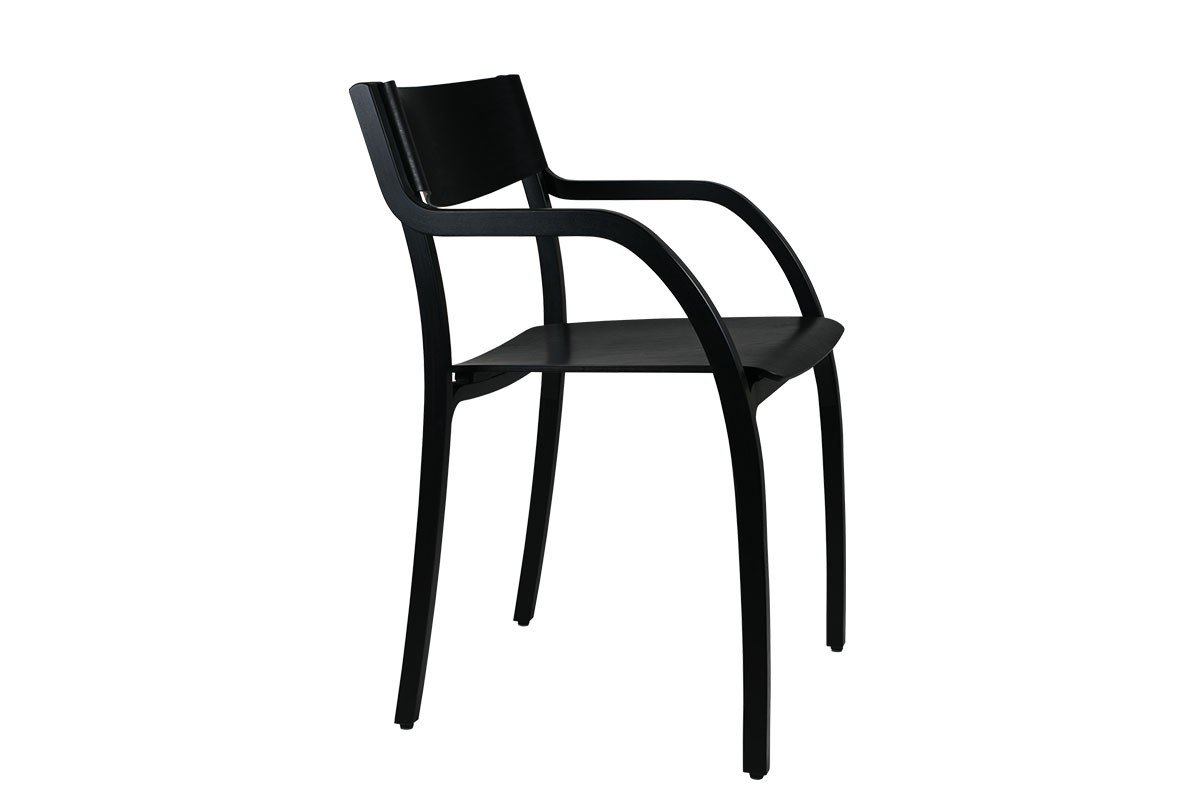 Contemporary plywood chair from the birch, stained black
