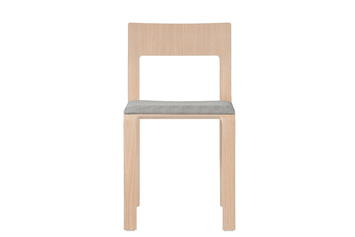 Scandinavian design chair from the oak with pads, lacquered