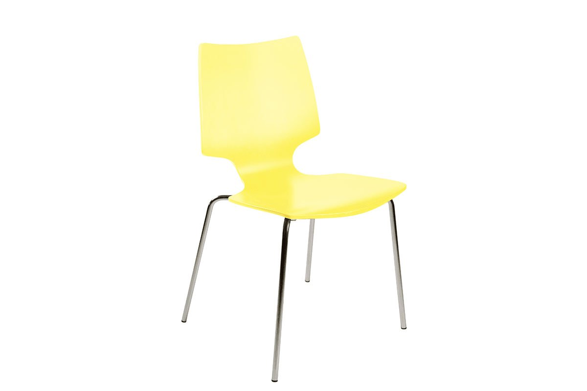 Durable wooden chair from the birch, painted, yellow
