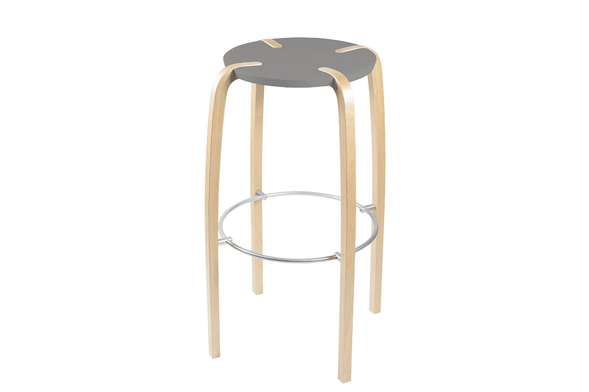 Contemporary plywood bar stool from the birch, lacquered