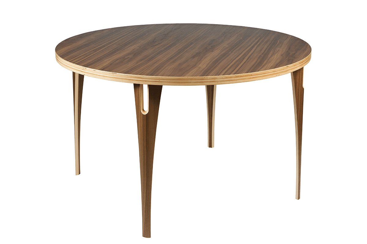 Durable wooden table from the walnut, lacquered
