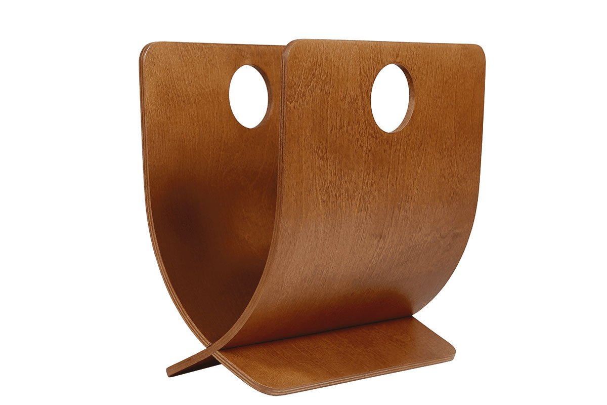 Contemporary plywood magazine holder from the birch, stained cherry