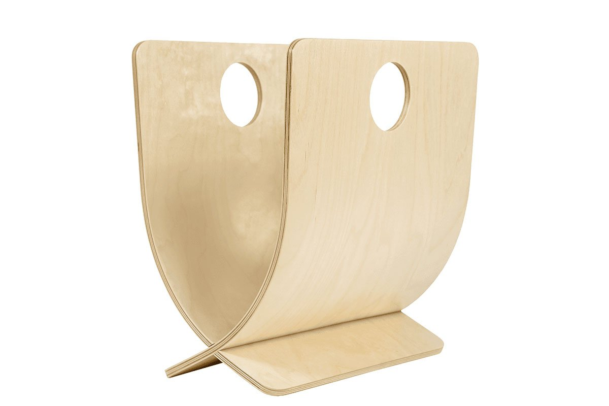 Scandinavian design magazine holder from the birch, lacquered