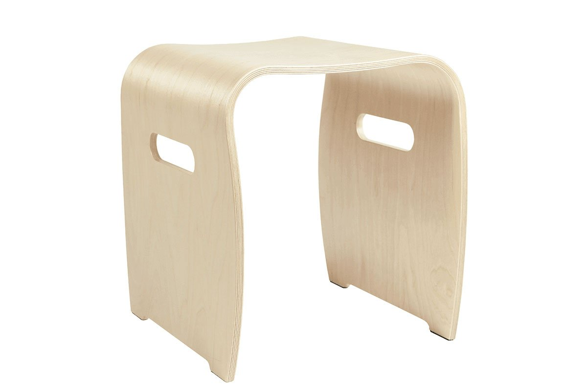 Contemporary plywood stool from the birch, bleached