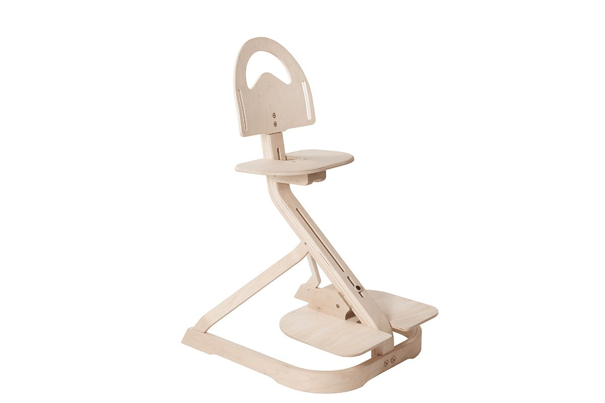Durable wooden high chair from the birch, bleached