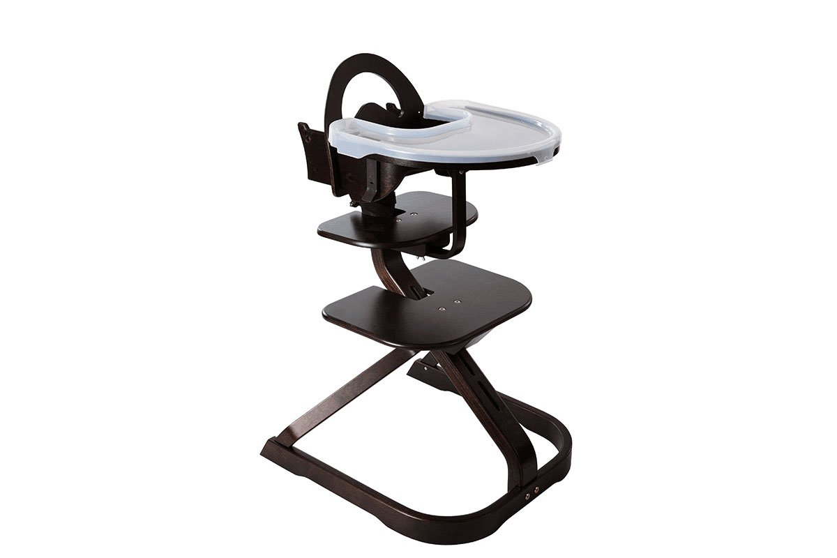 Durable wooden high chair from the birch, stained wenge