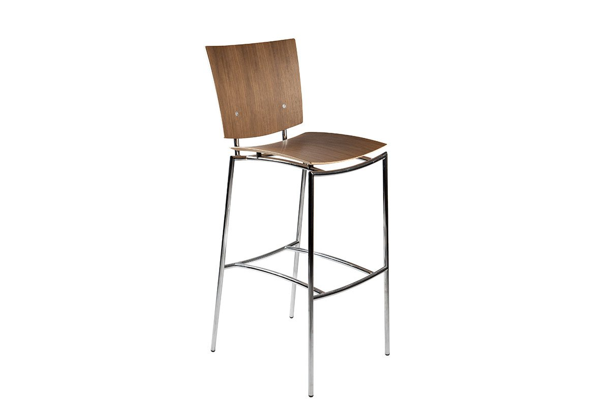 Durable wooden bar stool from the walnut, lacquered