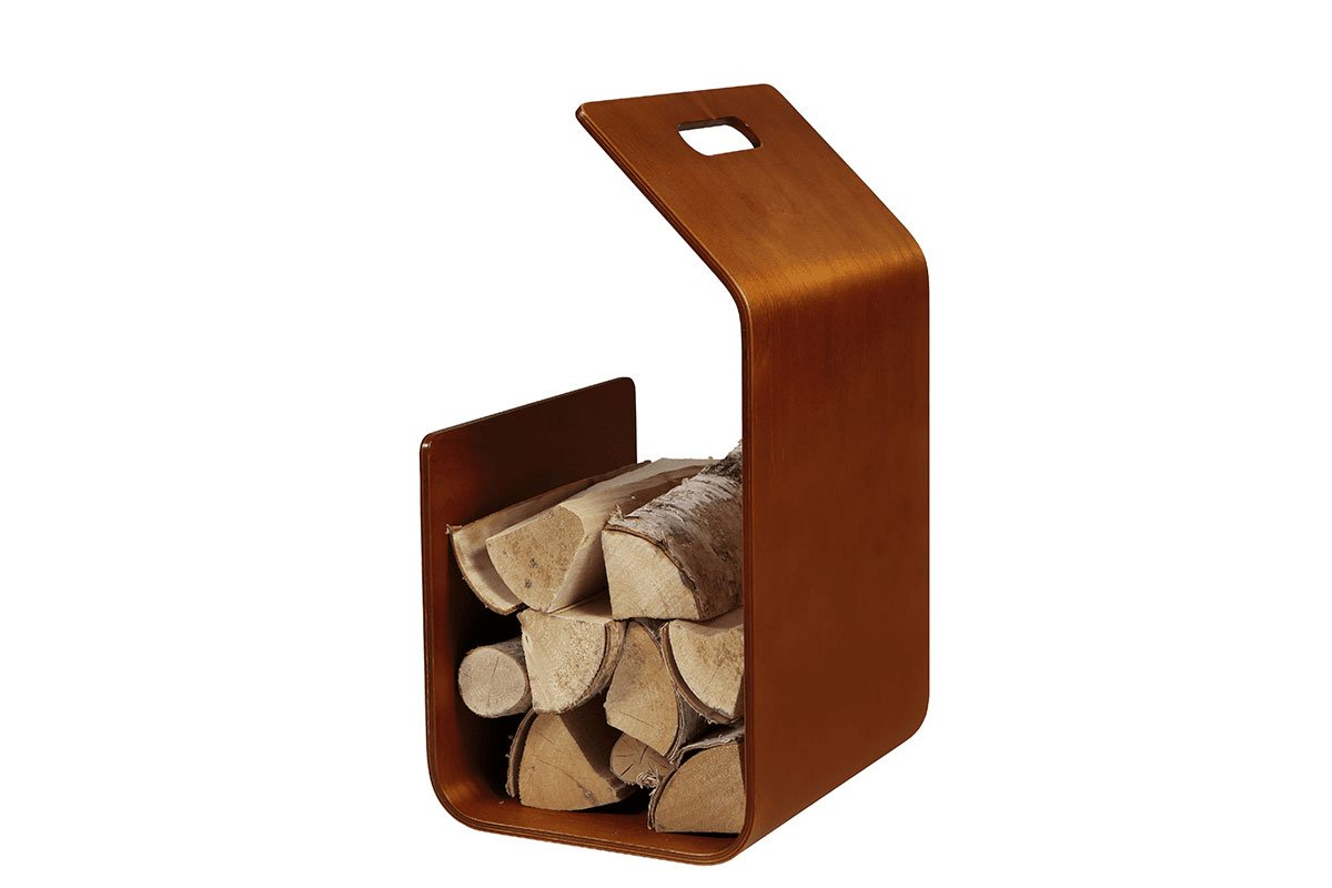 Contemporary plywood firewood basket from the birch, stained cherry