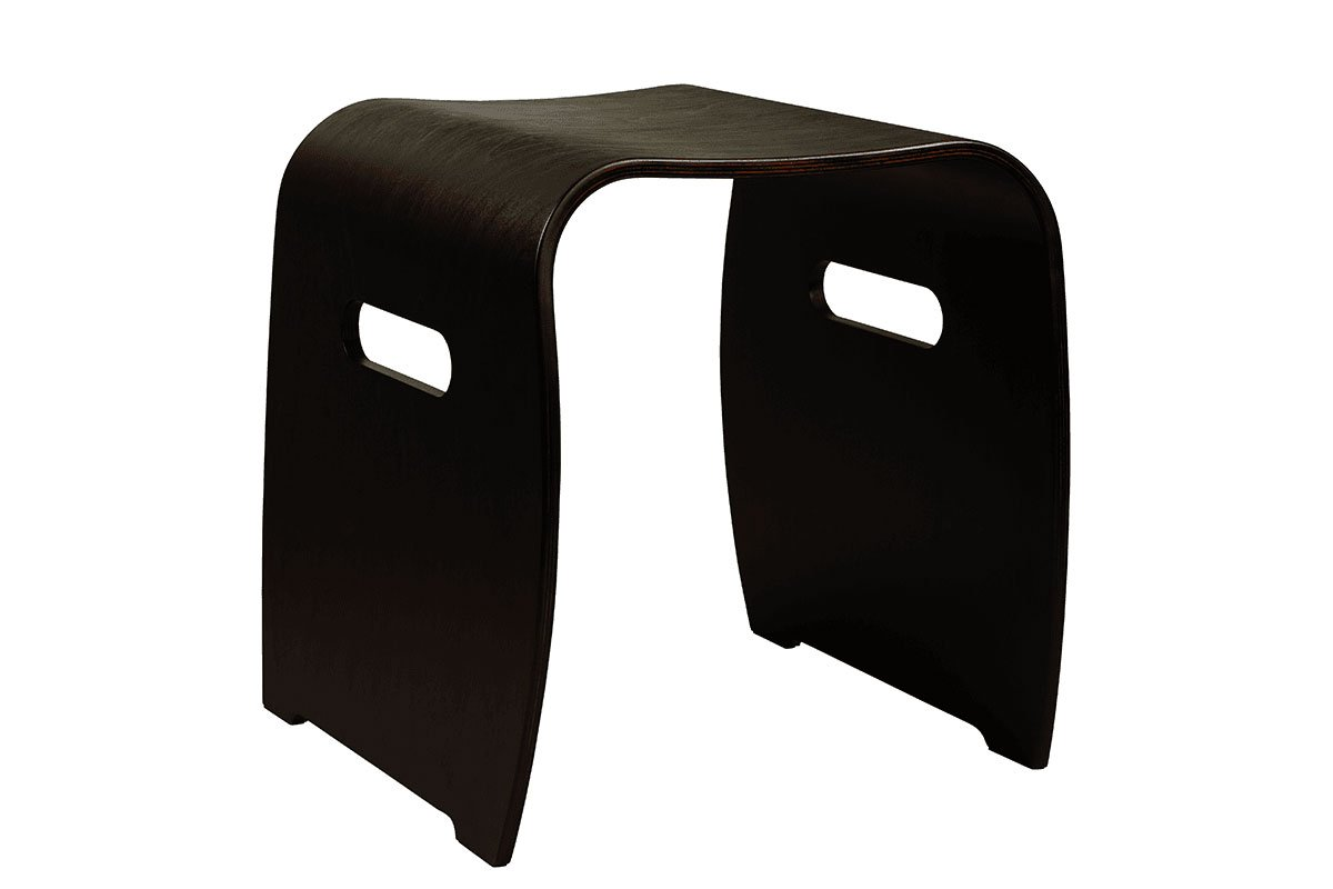 Scandinavian design stool from the birch, stained black