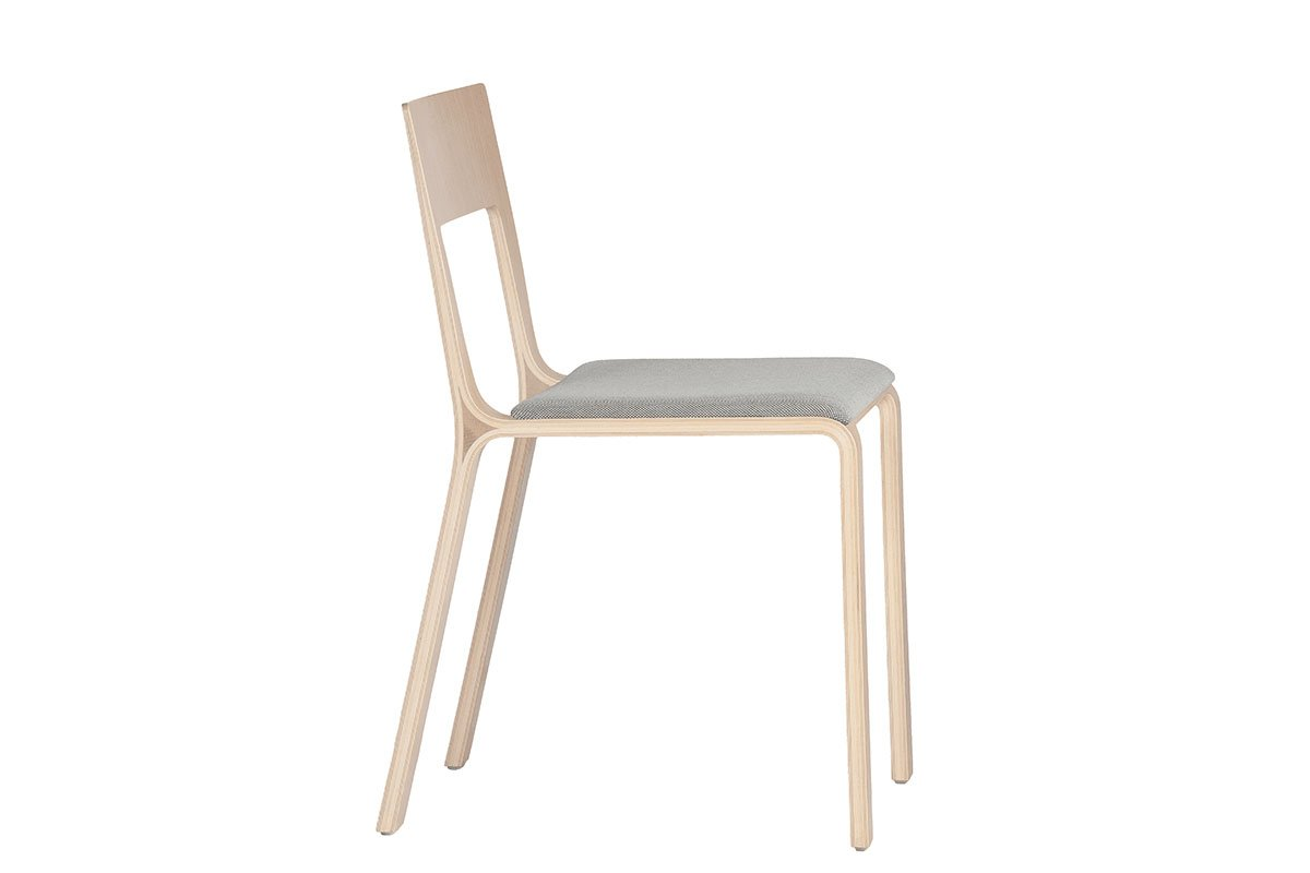 Durable wooden chair from the oak with pads, bleached