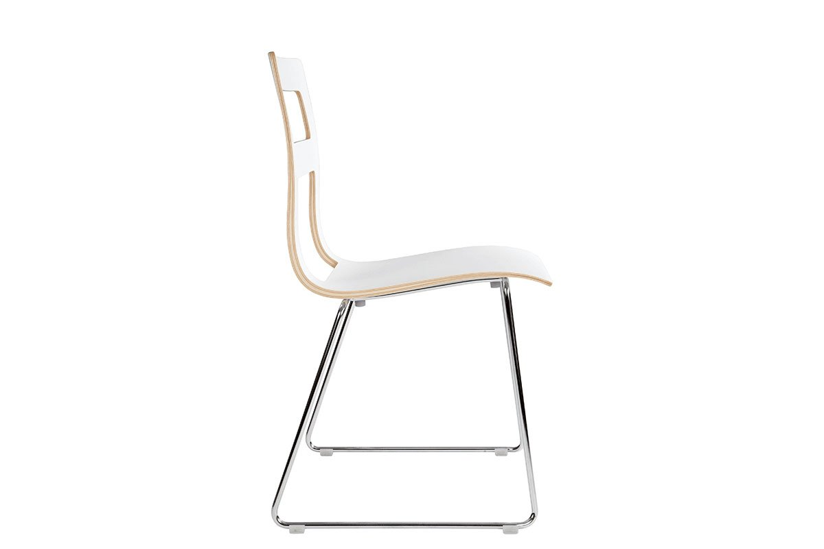 Durable wooden chair, laminate, white