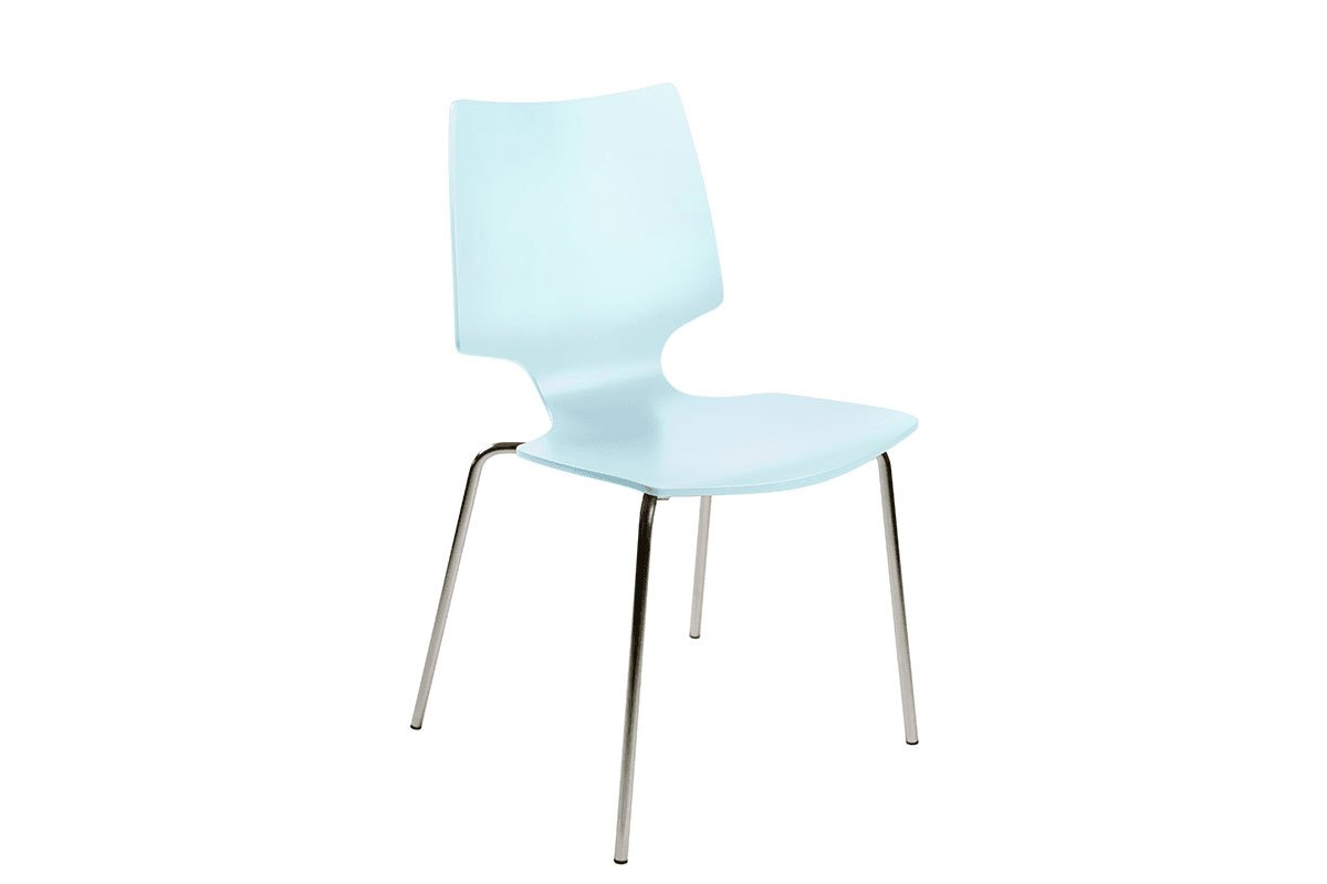 Contemporary plywood chair from the birch, painted, blue