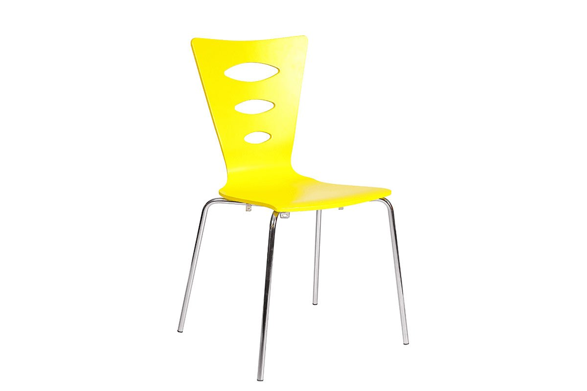 Durable wooden chair, painted, yellow