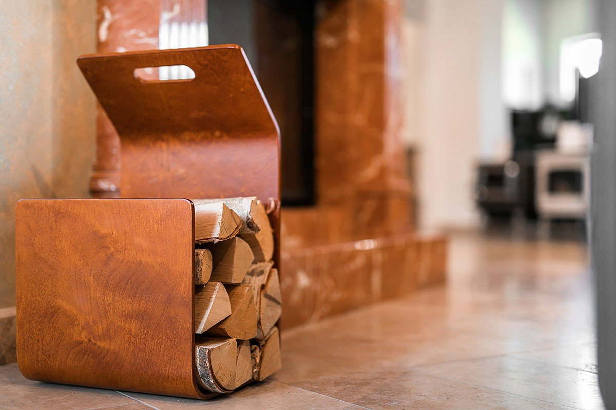 Durable wooden firewood basket from the birch, stained cherry