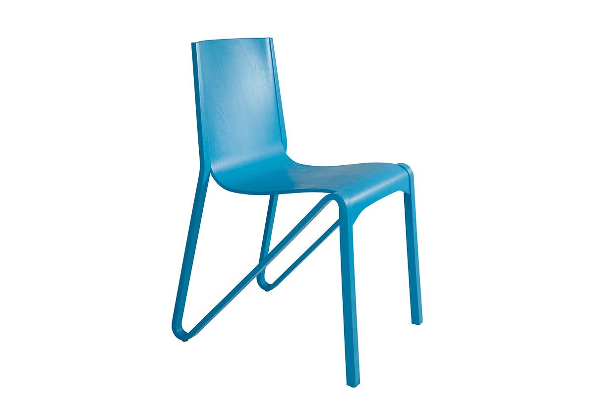 Durable wooden chair from the birch, pigmented lacquer