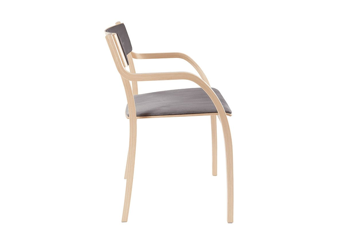 Durable wooden chair from the birch with pads, bleached