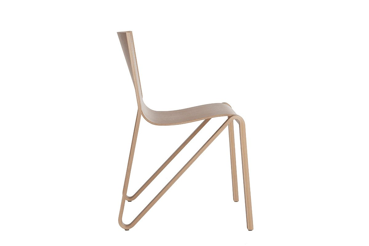 Scandinavian design chair from the oak, lacquered
