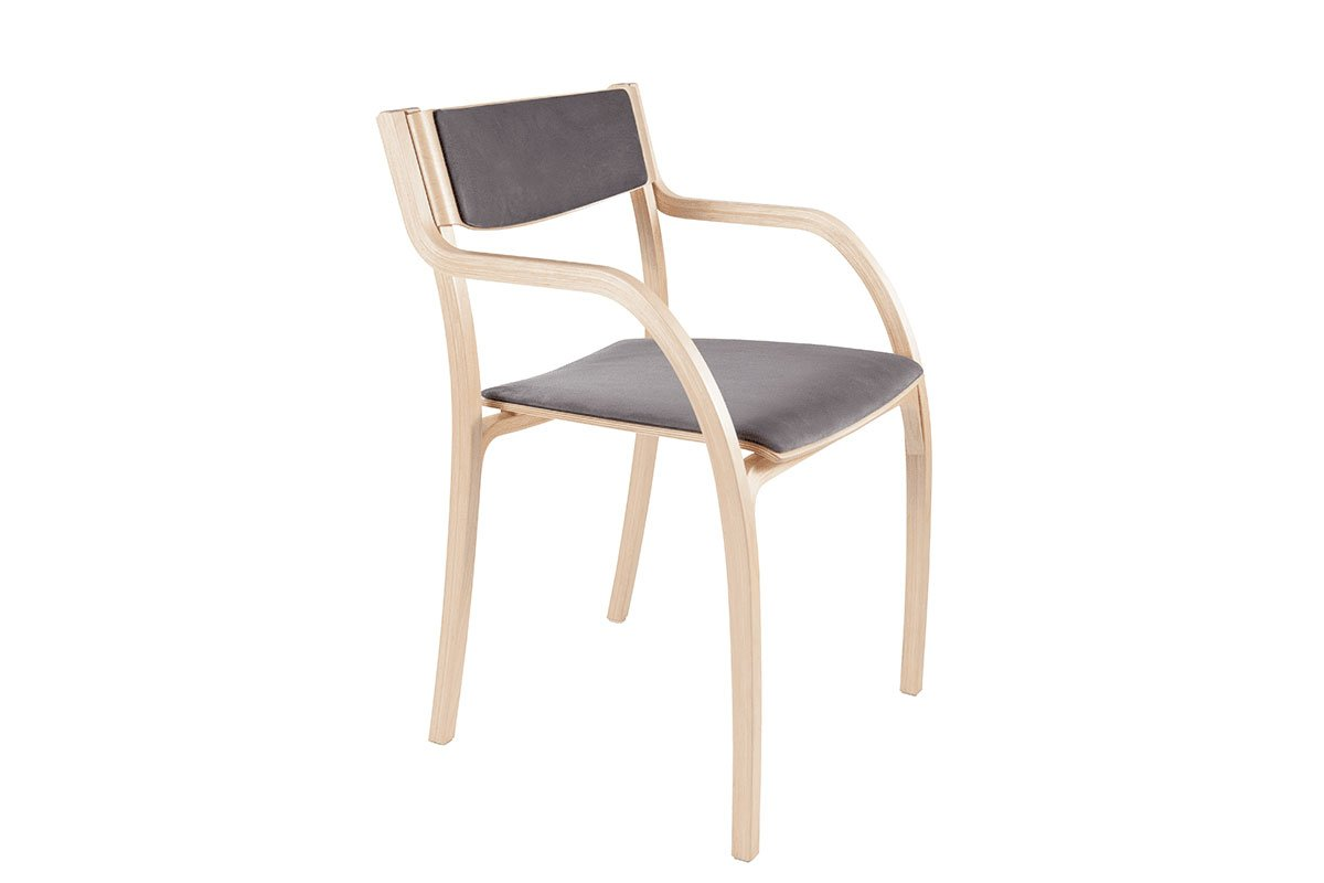Scandinavian design chair from the birch with pads, bleached