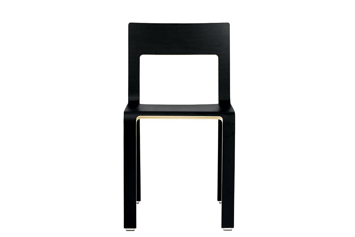 Contemporary plywood chair, laminate, black