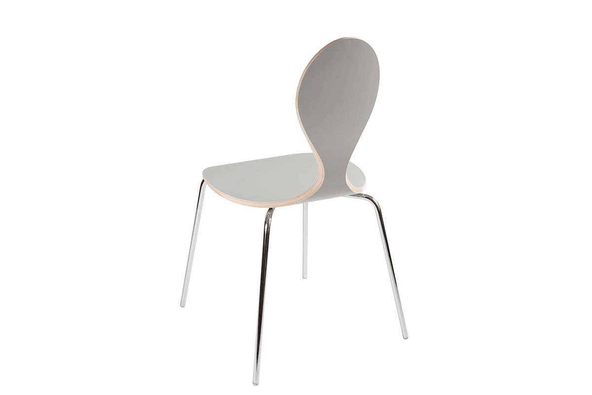 Contemporary plywood chair, laminate, grey