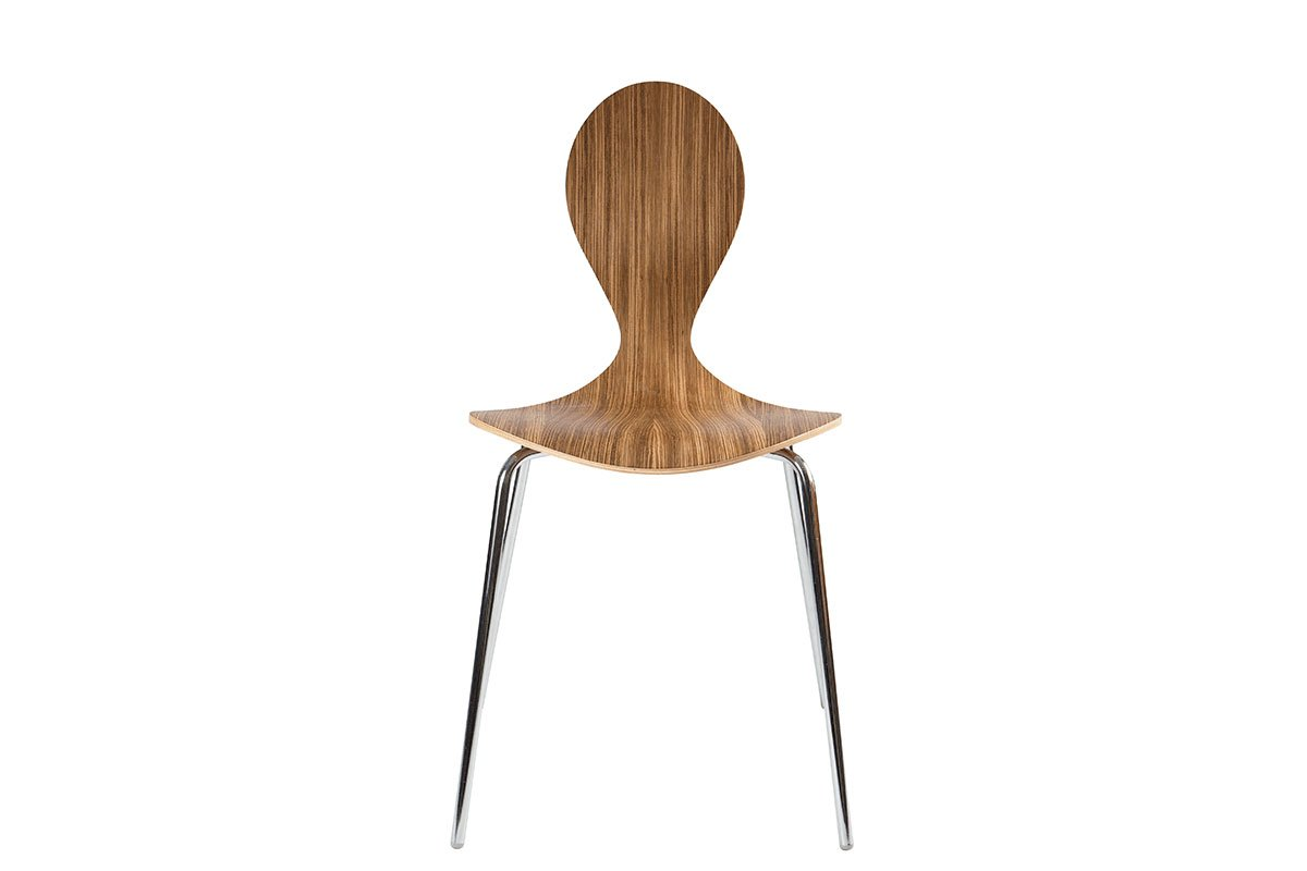 Contemporary plywood chair from the walnut, lacquered
