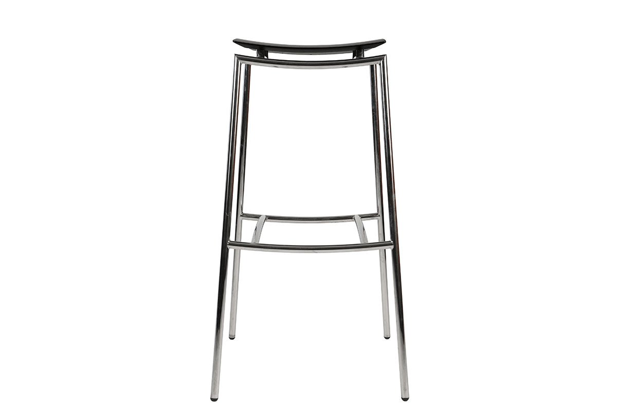 Contemporary bar stool from the birch with metal frame, stained black