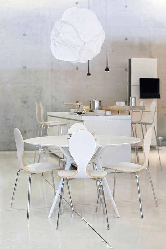 Contemporary plywood chair, laminate, white