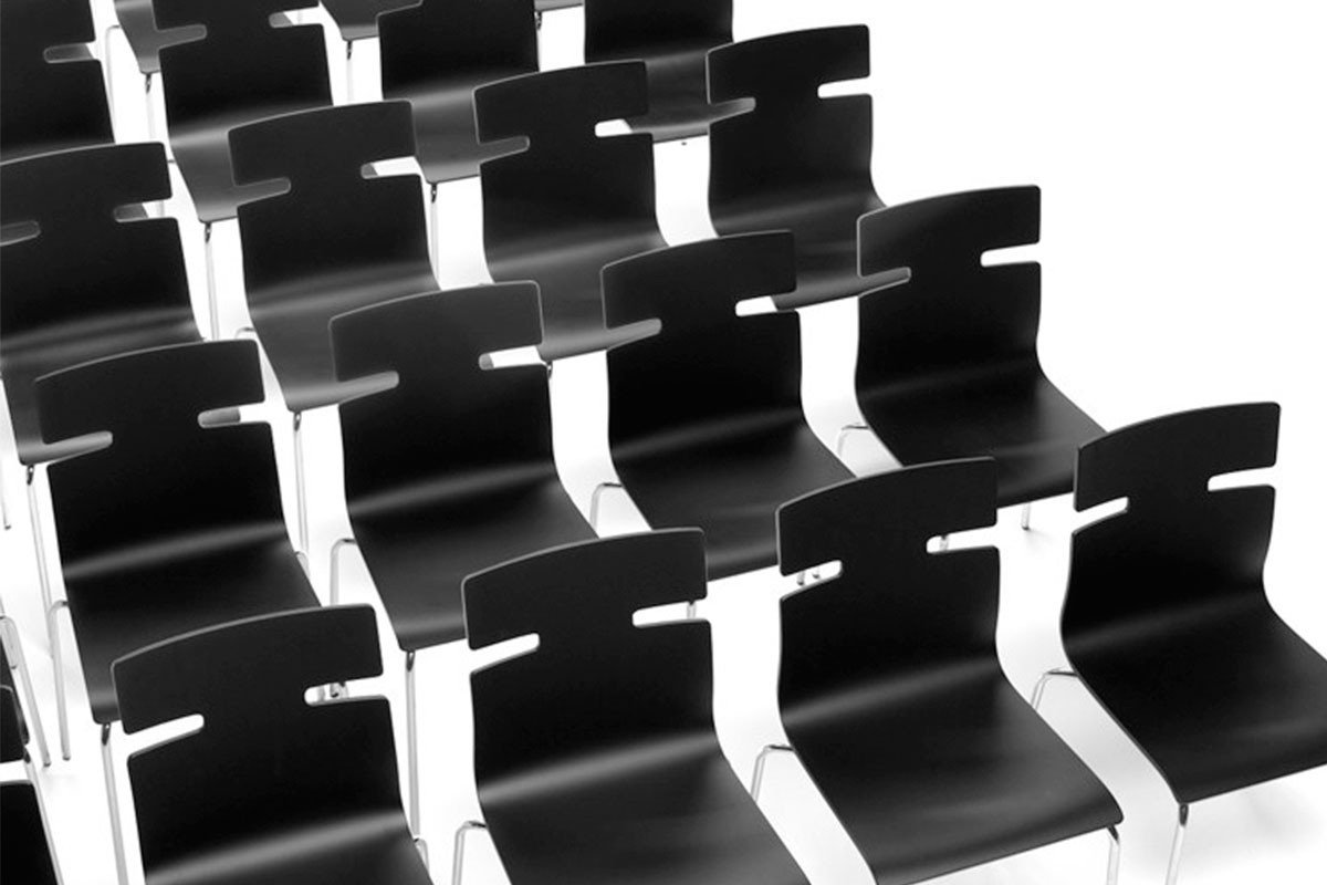 Contemporary plywood chair, painted, black