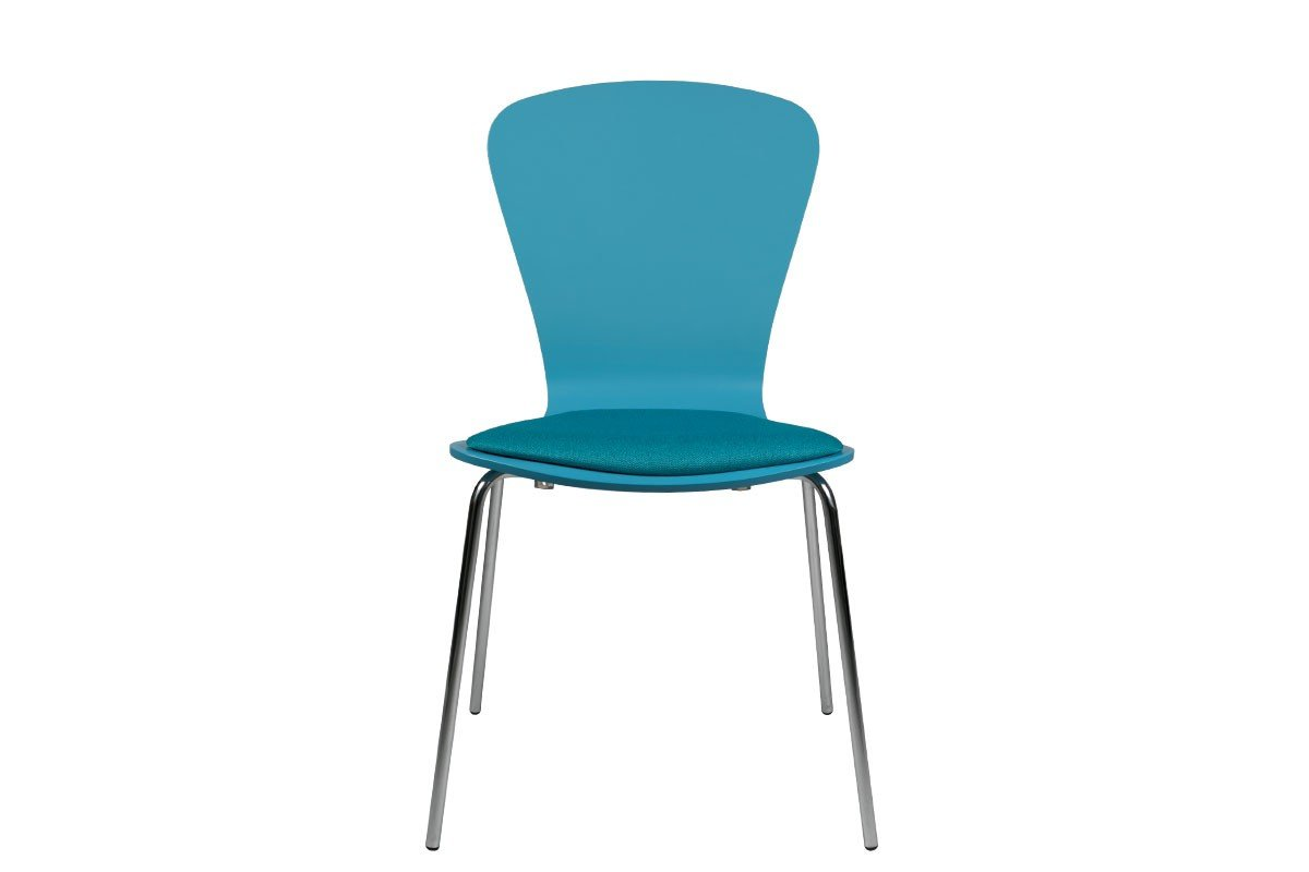 Scandinavian design chair from the birch with pads, painted, blue