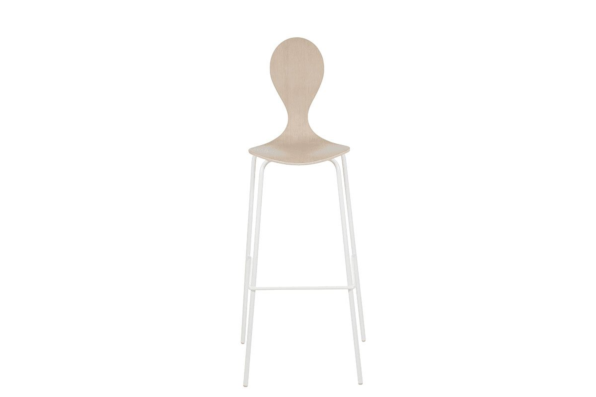 Contemporary plywood bar stool from the oak, bleached
