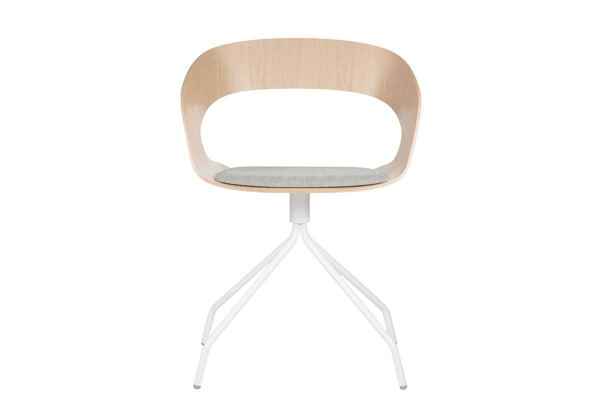 Contemporary plywood chair from the oak with pads, bleached