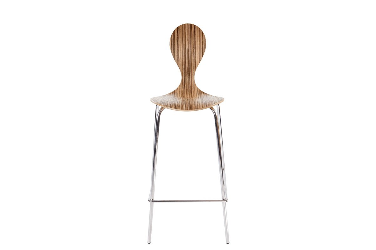 Durable wooden bar stool, zebrano, lacquered