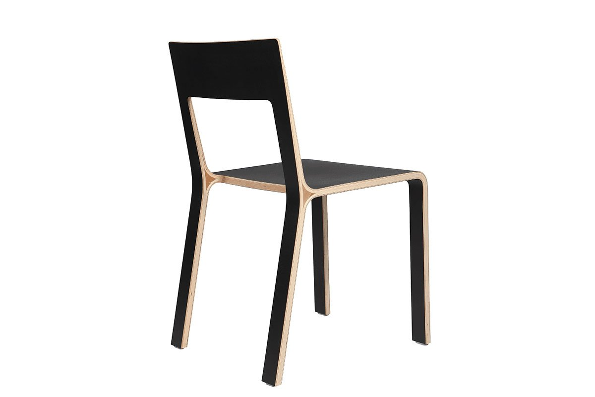 Scandinavian design chair, laminate, black