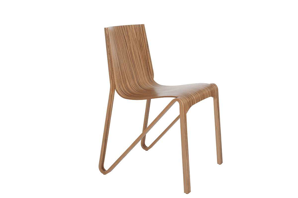 Contemporary plywood chair, zebrano, lacquered