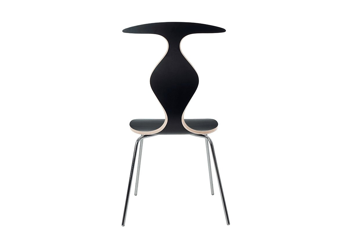 Durable wooden chair, laminate, black