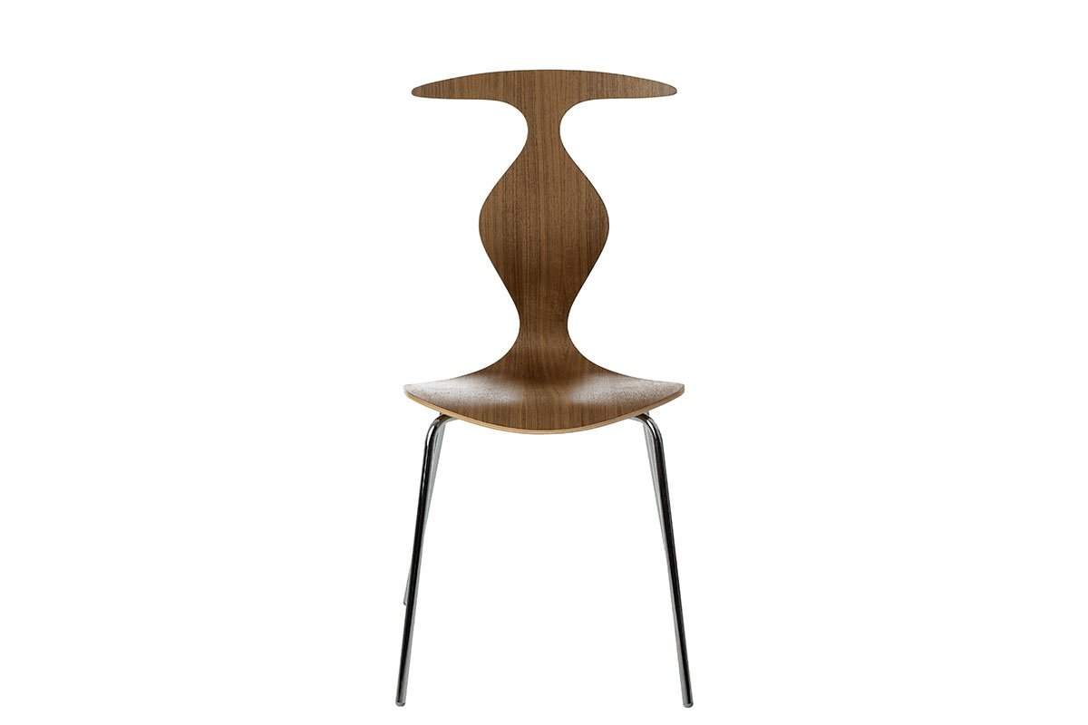 Durable wooden chair from the walnut, lacquered