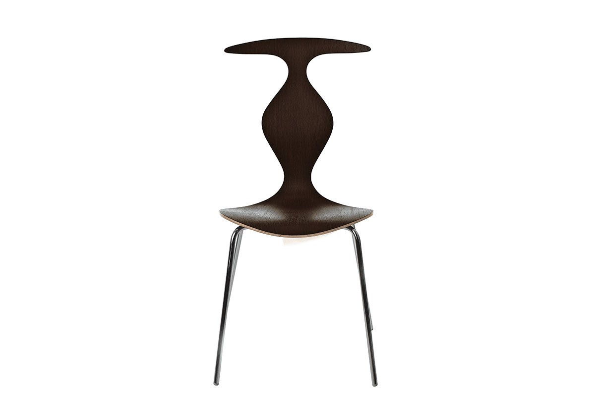 Contemporary plywood chair, wenge, lacquered