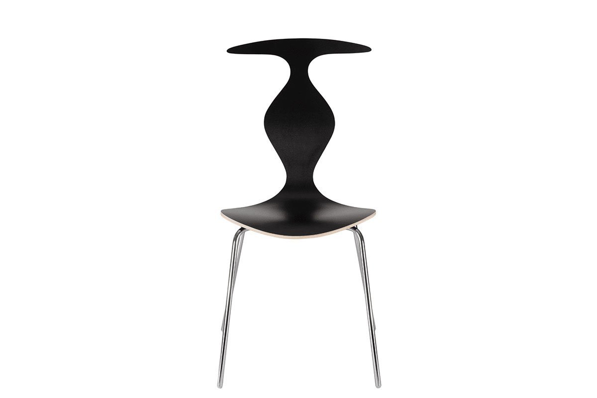 Scandinavian design chair, laminate, balck