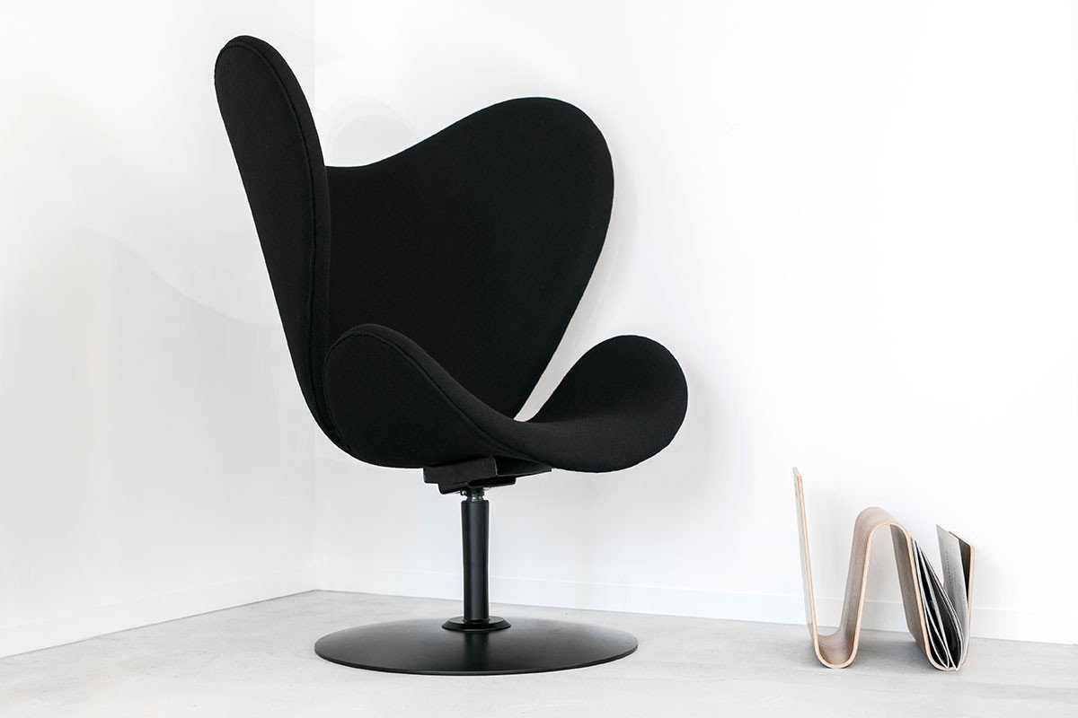 Scandinavian design lounge chair from the birch with pads, black