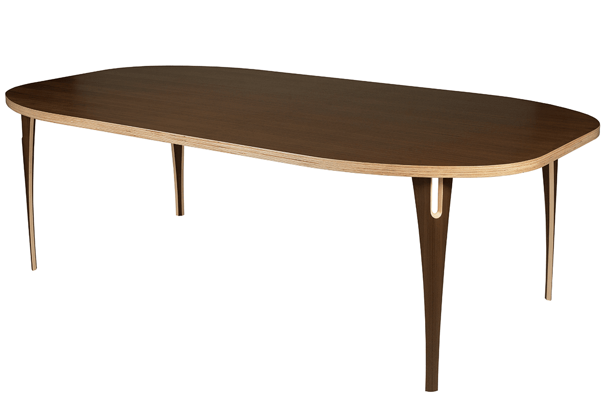 Scandinavian design table from the walnut, lacquered