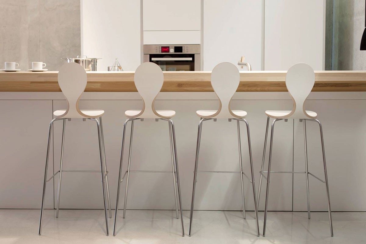 Durable wooden bar stool, laminate, white
