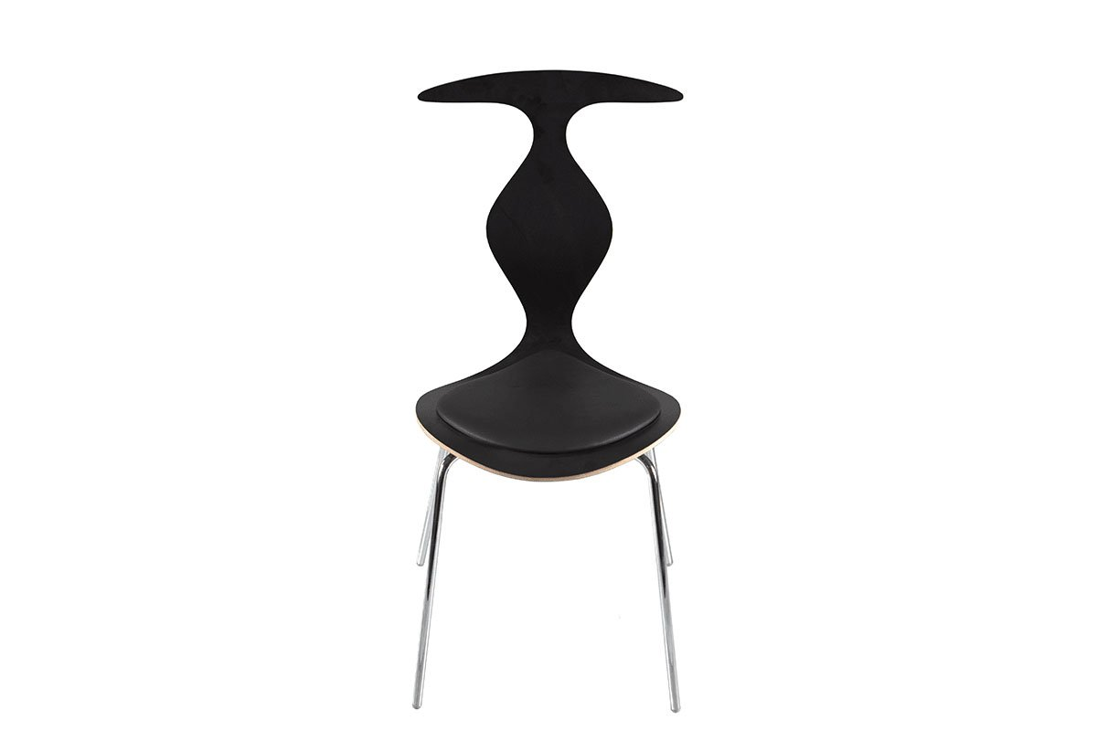 Scandinavian design chair with pads, laminate, black