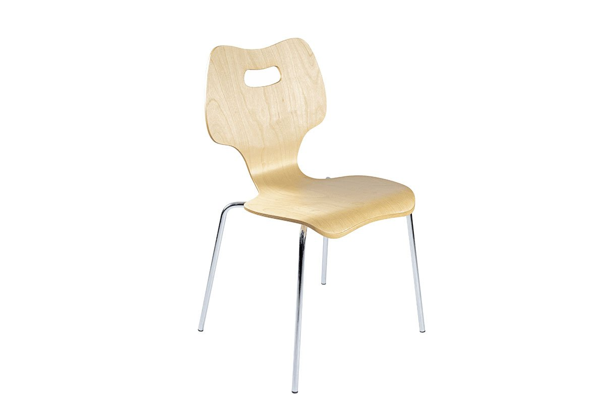 Durable wooden chair from the birch, lacquered