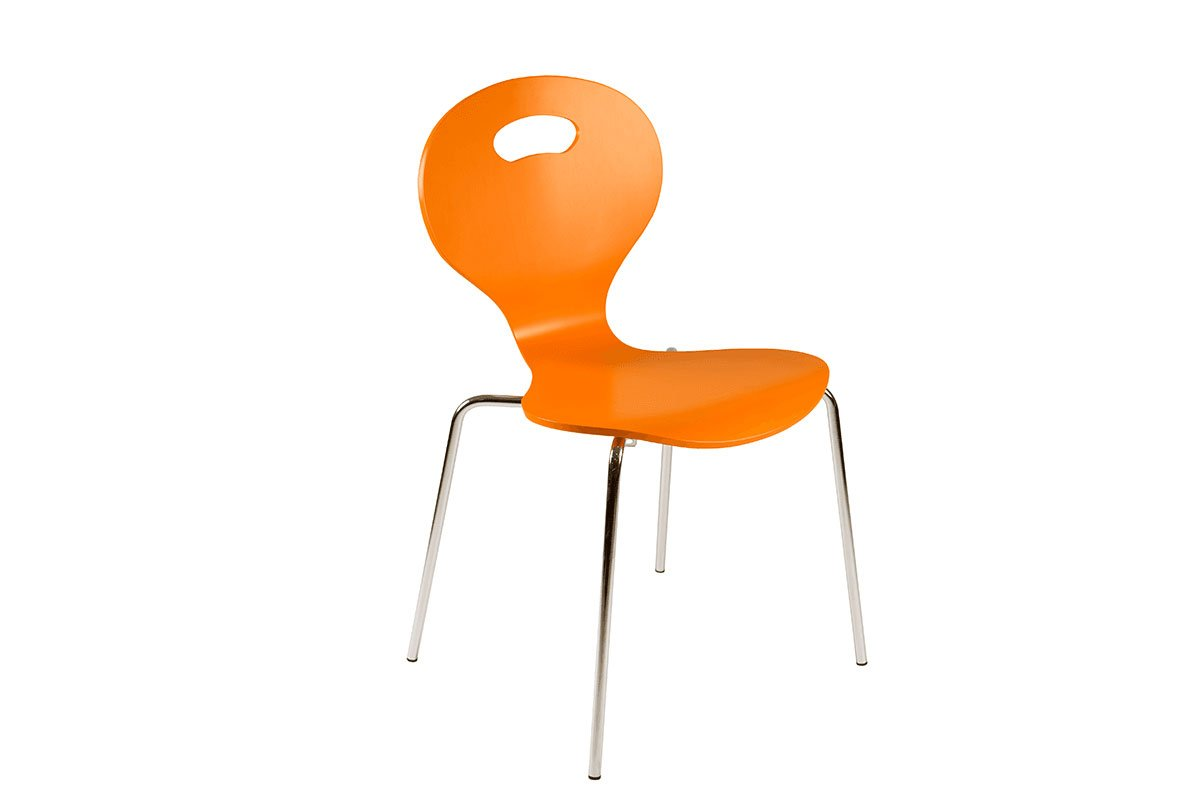 Durable wooden chair, painted, orange