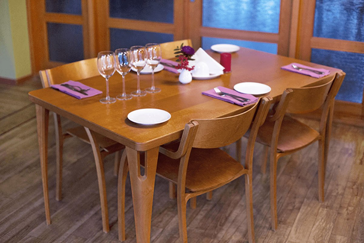 Contemporary plywood table from the birch, stained cherry