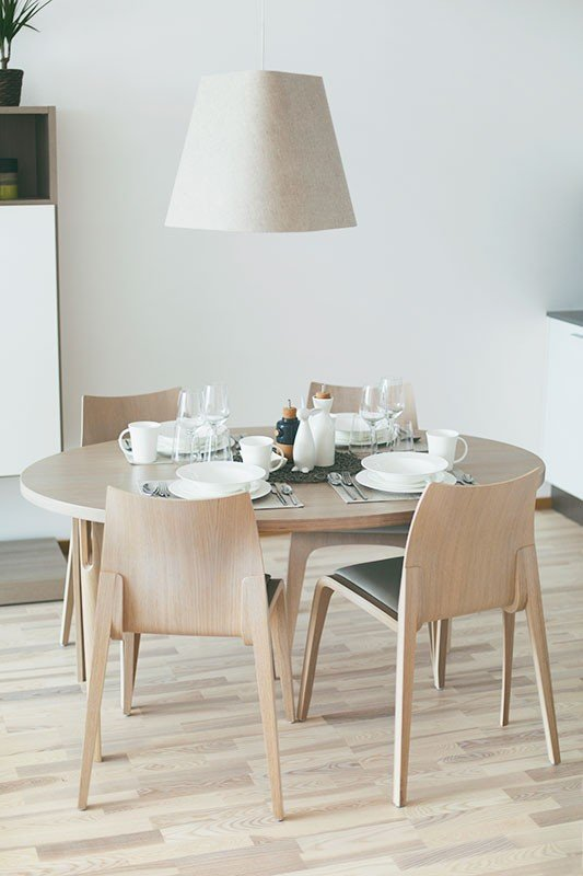 Scandinavian design table from the oak, lacquered