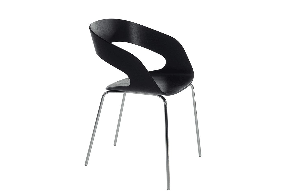 Scandinavian design chair from the birch, lastained black