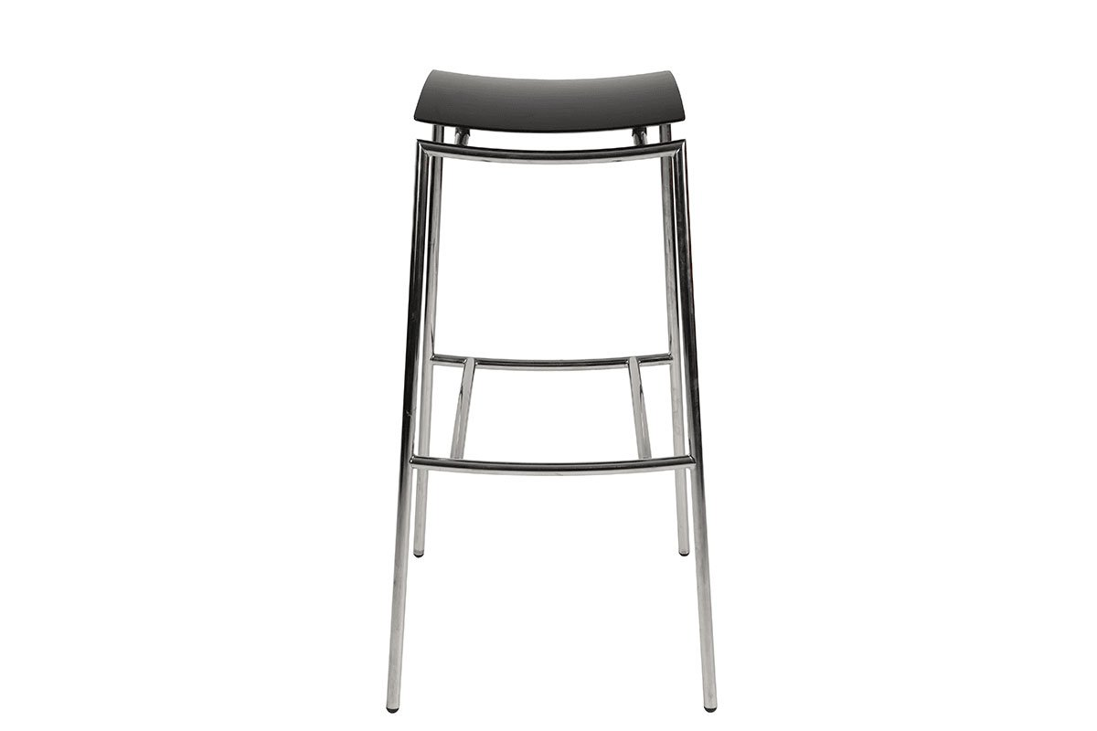 Scandinavian design bar stool from the birch with metal frame, stained black