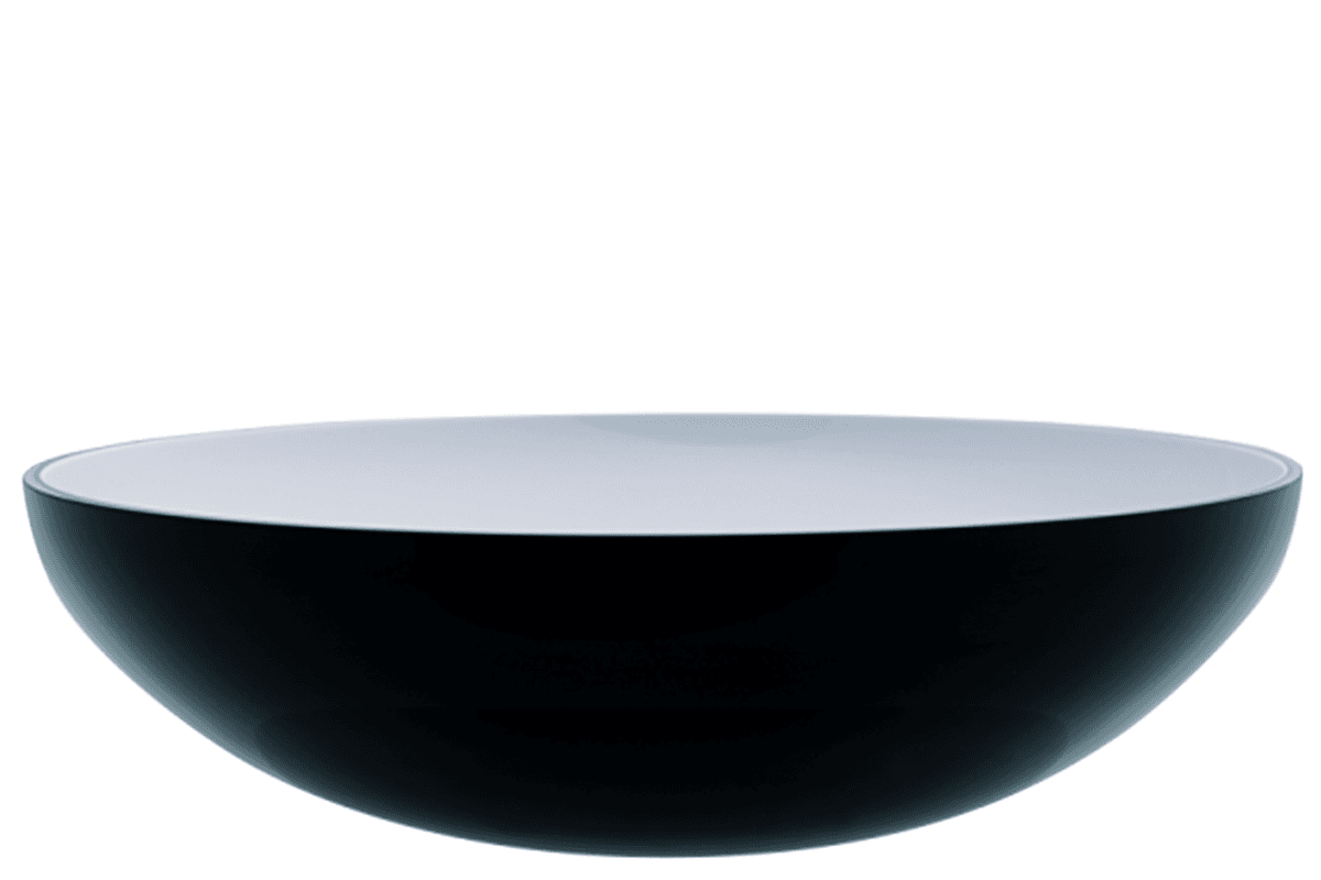 Decorative glass bowl, black and white